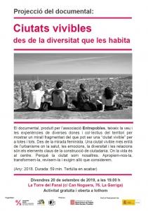 """La Garriga: Projecció """"Ciutats vivibles des de la diversitat que les habita"""" i col·loqui @ Casal Popular La Torre del Fanal"""